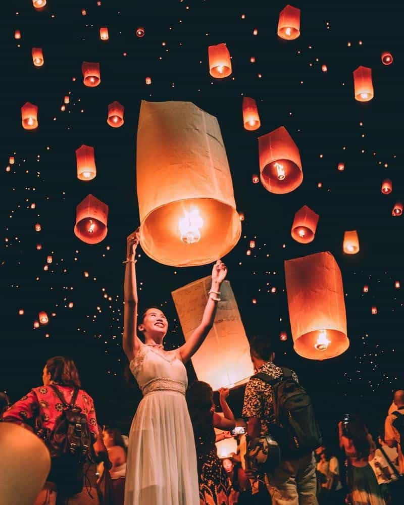 chiang mai lễ hội đèn trời