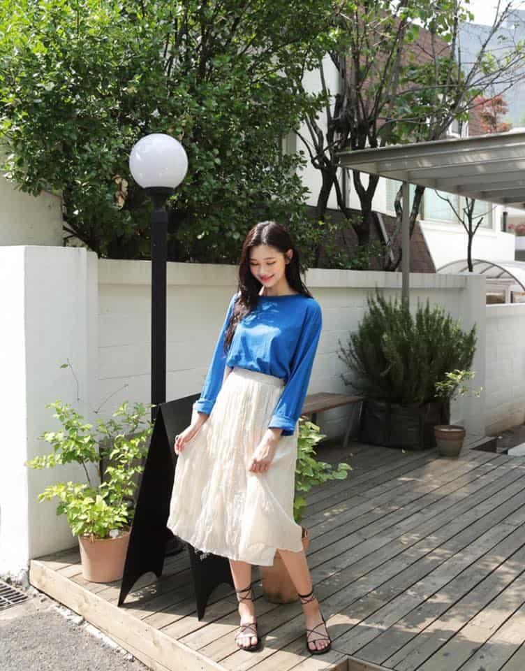 Style váy suông mix áo cách điệu