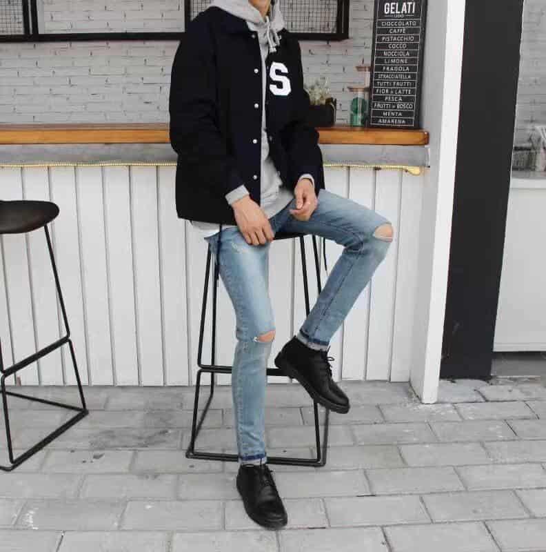 Quần jean mix giày da