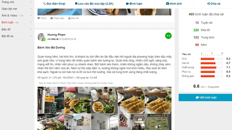 Review về quán và món ăn
