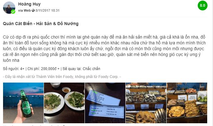 Đánh giá về nhà hàng