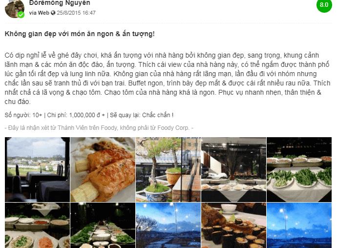 Nhà hàng Song Mây Đà Lạt nổi tiếng với món ăn ngon