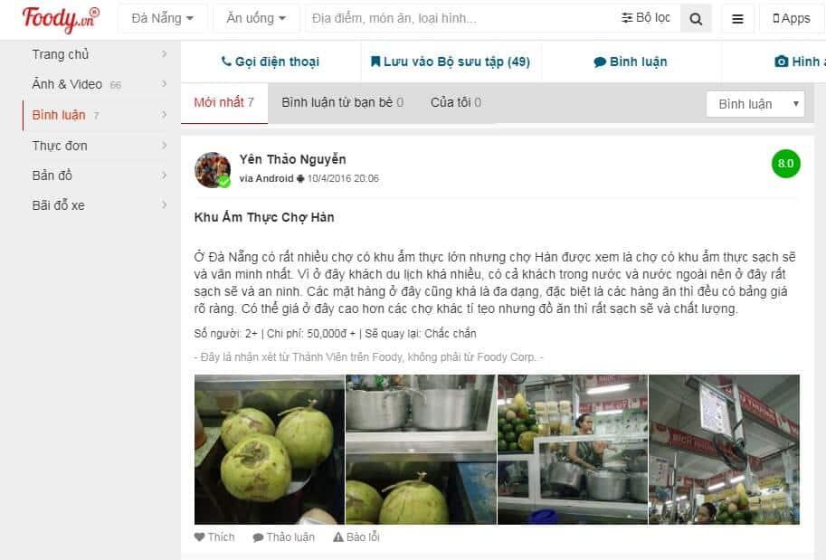 ăn vặt chợ Hàn Đà Nẵng