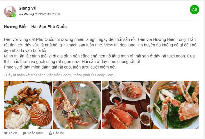 Review trên foody về nhà hàng