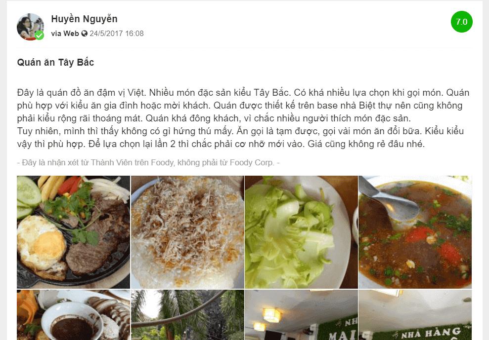 review nhà hàng mai châu đỗ quang