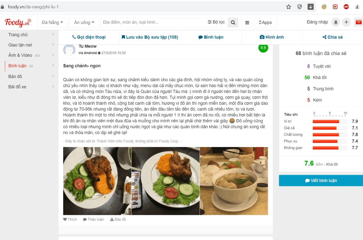 Phản hồi khách hàng về quán cơm gà Phì Lũ Đà Nẵng