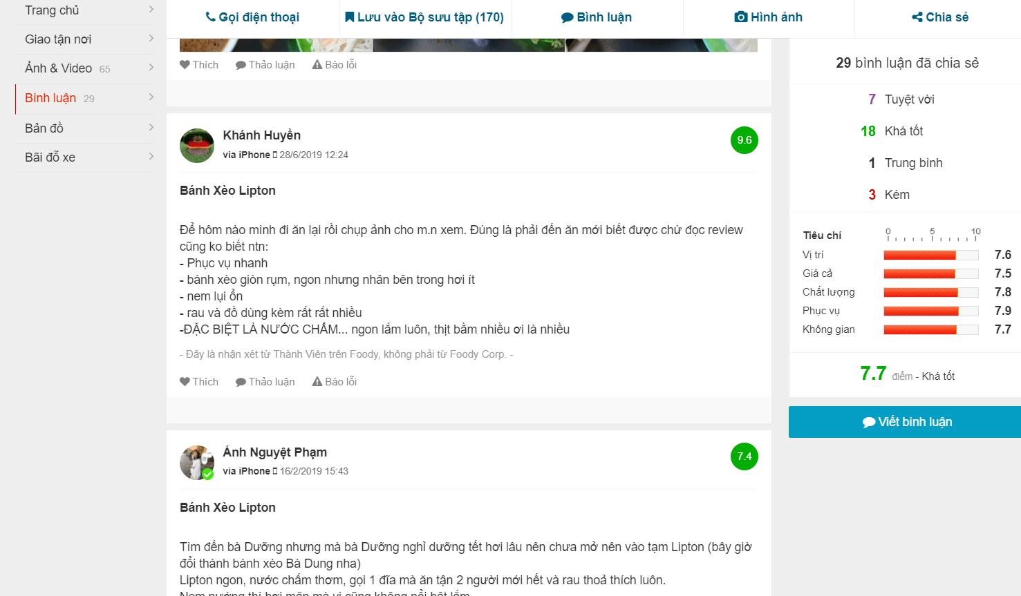 review bánh xèo lipton Đà Nẵng
