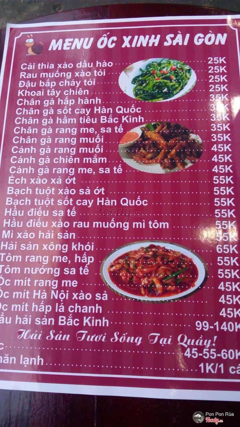 Menu quán Ốc xinh Sài Gòn